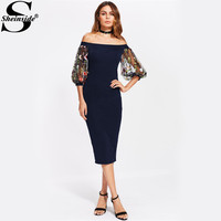Sheinside Navy Bardot Bodycon Dress With Embroidered Mesh Party Dress 2018 Off The Shoulder OL Elegant