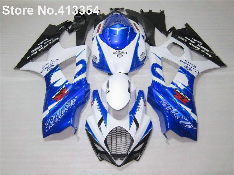 New hot compression molding fairings for Suzuki GSXR 1000 07 08 white blue black motorcycle fairing kit GSXR1000 2007 2008 RY46
