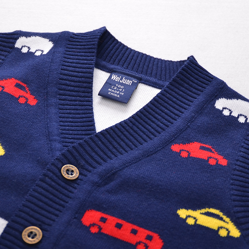 Cotton V Neck Baby Vest Knitted Pattern Boys Sweater Autumn Toddler
