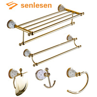 Wholesale And Retail Bathroom Accessories Golden Wall Mounted Crystal Brass Towel Holder Soap Dishes Toilet Accessories