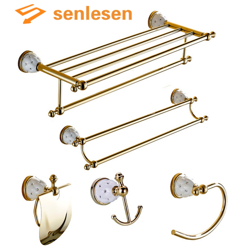 Wholesale And Retail Bathroom Accessories Golden Wall Mounted Crystal Brass Towel Holder Soap Dishes Toilet Accessories wall mounted golden crystal bathroom accessories crystal bathroom shelves of blue and white porcelain racks