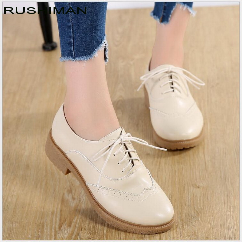 Spring\Autumn British style split leather women square heel flat Platform shoes woman Brogue lace-up shoes ladies Oxford Shoes phyanic brand flat british style oxford shoes for women patent leather lace up ladies woman flats casual shoes 2018 spring