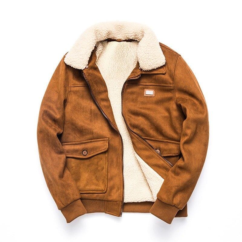 2019 New Winter Mens Fleece Coats Fashion Solid Detachable Collar Faux Suede Outerwear Male Slim Fit Pocket Zipper Coat M 3XL - 2