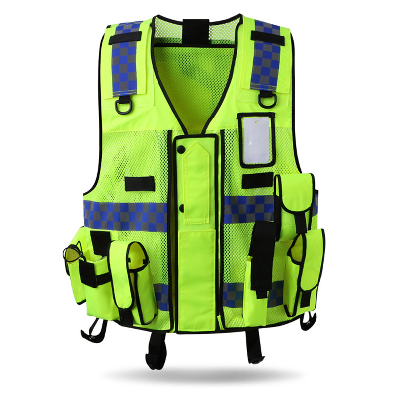 Smart Reflective Safety Vest Pockets Breathable Yellow Orange Mesh Vest Work Wear Security & Protection Workplace Safety Supplies