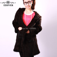 2017 New Genuine Knitted Mink Fur Coat With Hood And Belt Women Real Natural Fur Coats Length 70 cm  Outerwear Winter Long Parka