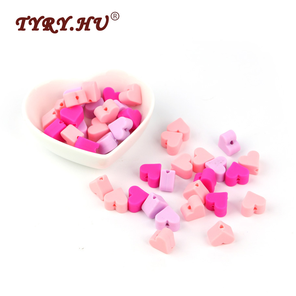 TYRY.HU 30Pcs Silicone Beads Heart Shaped Natural Baby Teething Beads BPA Free Baby Teethers Necklace Charms Baby Shower Gifts