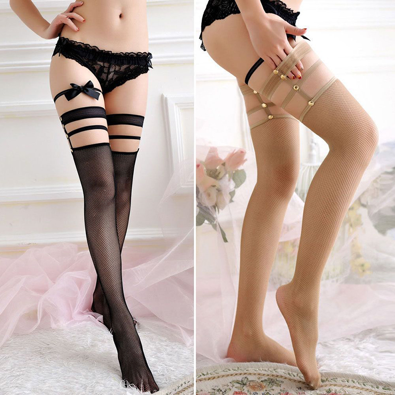 2019 New Woman Lace Sexy Thigh High Hold-up Fishnet Top Punk Hollow Long Mesh Stockings Ladies Black Nylon Fishnet Pantyhose