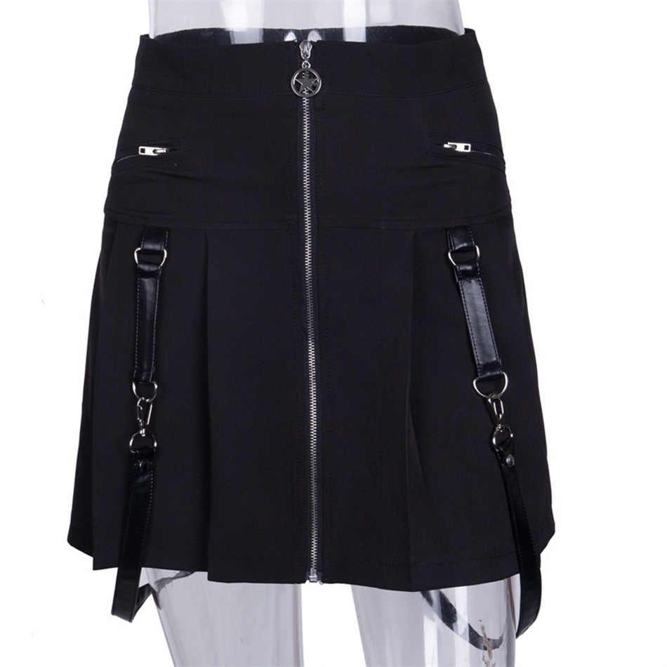 2019 новые модные мини-юбки с высокой талией на молнии Harajuku корейский стиль клетчатые юбки однотонные трапециевидные юбки японская школьная форма