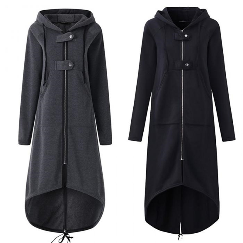Women Autumn Overcoat Zipper Cotton Hooded Long Sleeves Female Windbreaker Plus Size IK88