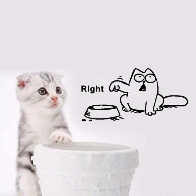 Diy Funny Cat Dog Pet Feeding Mark Wall Stickers Home Cartoon