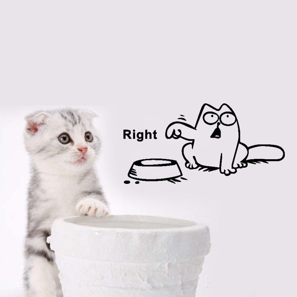 US $2 34 DIY Lucu Kucing Anjing Hewan Peliharaan Makan Mark Stiker Dinding Kartun Wallpaper Indah Dapur Toko Stiker Mobil Untuk Anak Anak Grosir