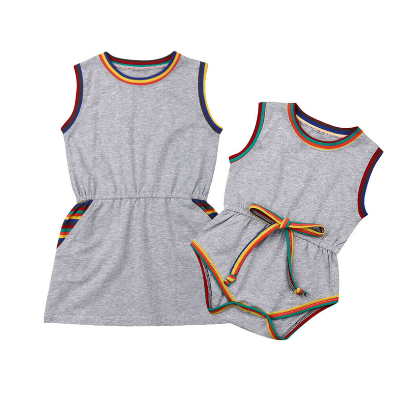 New Kid Boys Girls Family Brothers Sisters Matching Clothes Baby Romper Sisters Dresses Sleeveless Dress Rompers Summer