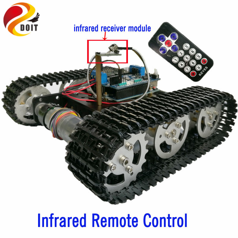 DOIT IR Remote Control Tracked Tank Chassis with Arduino UNO R3 Board+Motor Drive Shield Board by Phone for DIY Robot Project modules genuine for intel galileo gen 2 development board quark soc x1000 400mhz 256m compatible with arduino uno r3 shield