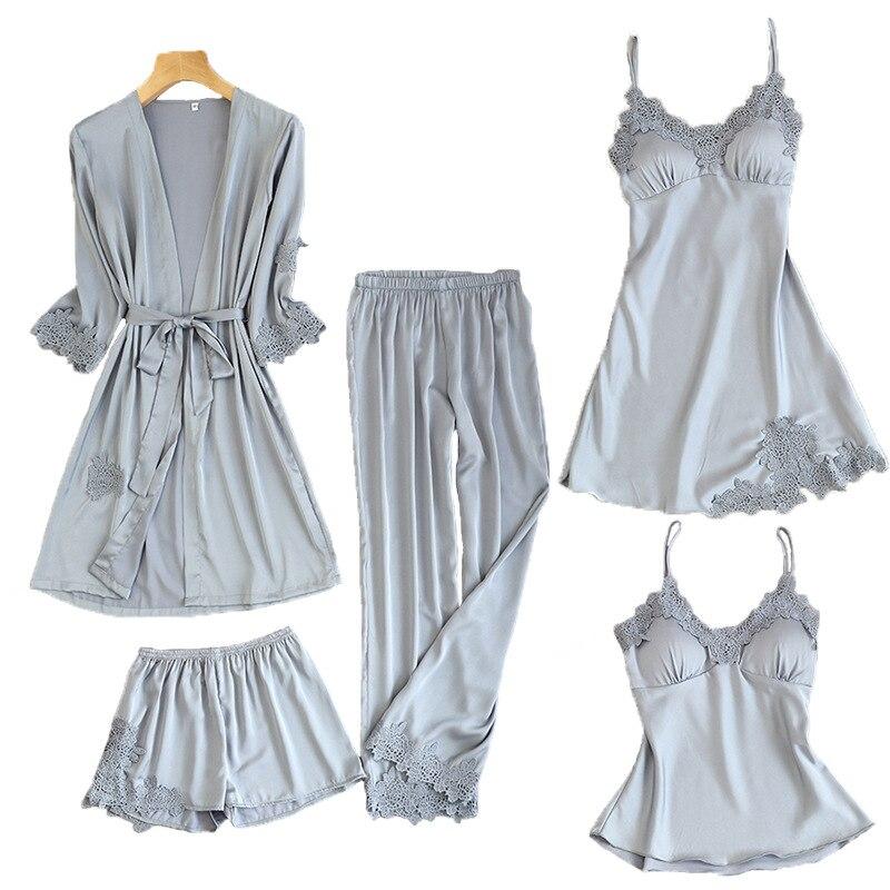 Женские пижамы, 5 шт., атласная пижама, шелковая Домашняя одежда, домашняя одежда, вышивка, Пижама для сна, для отдыха, пижама с нагрудными накладками