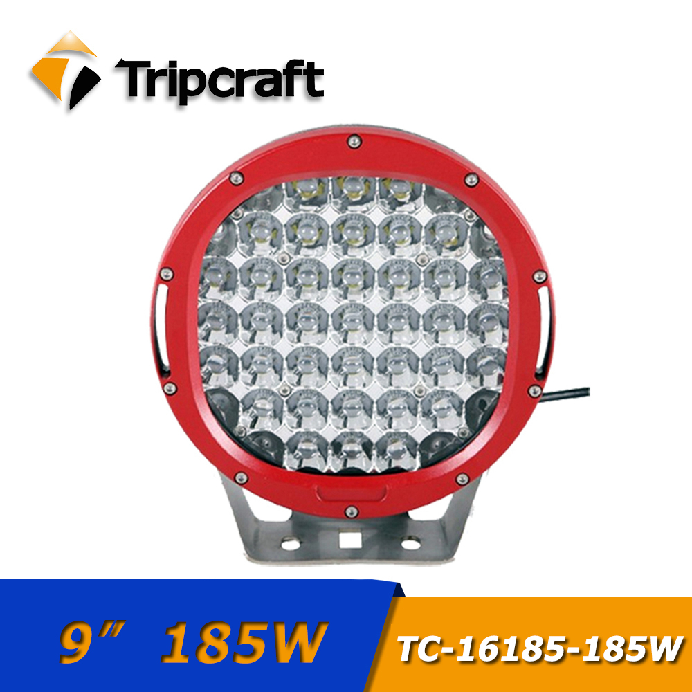 TRIPCRAFT 9inch 185W led work light SPOT BEAM more brightness car light for offroad boat ramp 4x4 SUV UAZ FOG LAMP 12V 24V IP67 tripcraft 4 6inch 40w led work light bar spot flood combo beam for offroad boat truck 4x4 atv uaz 4wd car fog lamp 12v 24v ramp