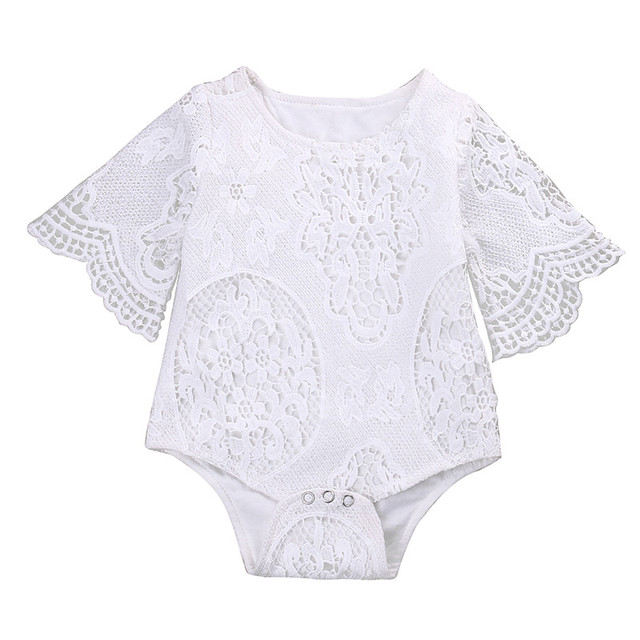 f97726de9 Summer White Baby Girls Romper Newborn Baby Girl Lace Floral Long ...