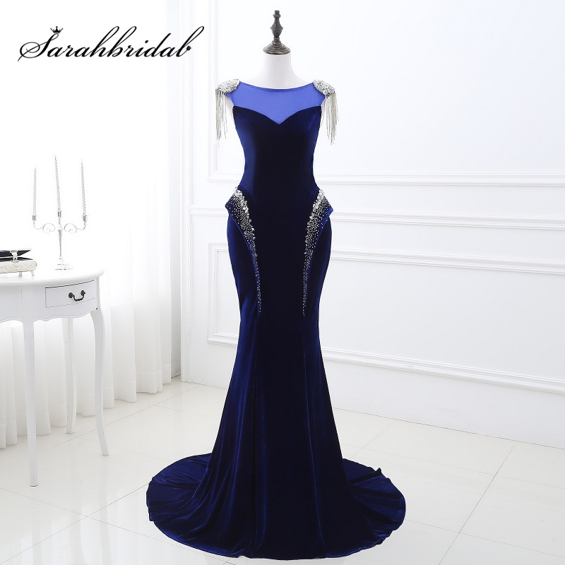 Elegant Royal Blue Long Mermaid Celebrity Dresses With Beaded Sequined Velour Red Carpet Dress Formal Evening Party Gown SQS079