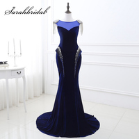Elegant Royal Blue largo sirena celebridad Vestidos con cuentas sequined terciopelo rojo Alfombras vestido fiesta formal sq22247