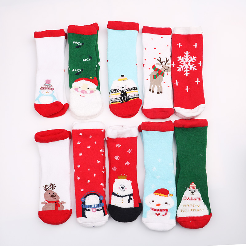 New Autumn Winter New Year Towel Socks Santa Claus Christmas Snow Elk Gift Long Kid Sock Snowman Cotton Children Socks