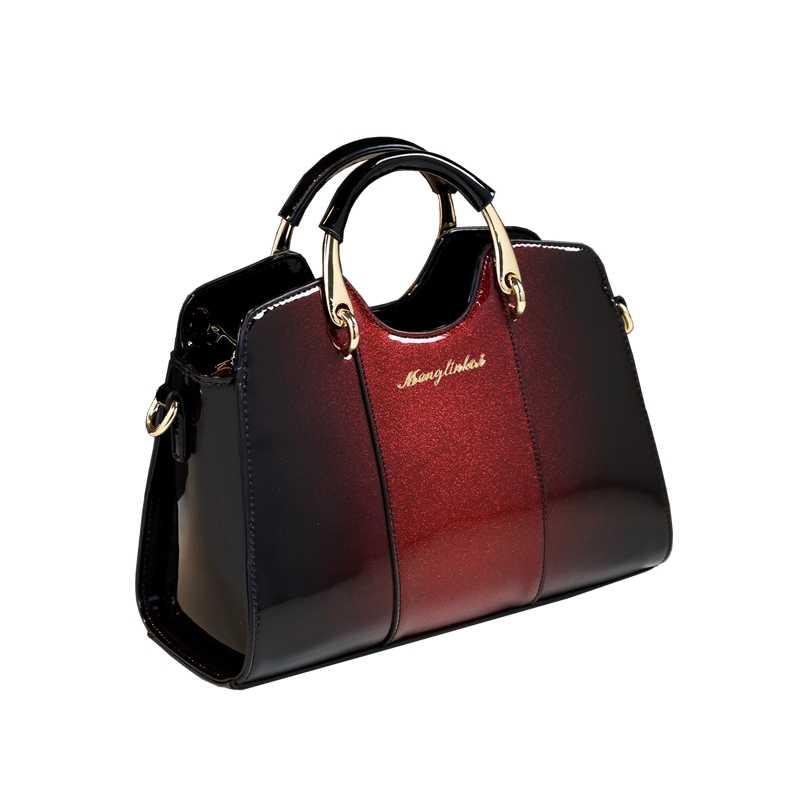 New fashion women leather handbag designer high quality patent leather  boston clutch messenger bags handbags women 80f8b35df0d27
