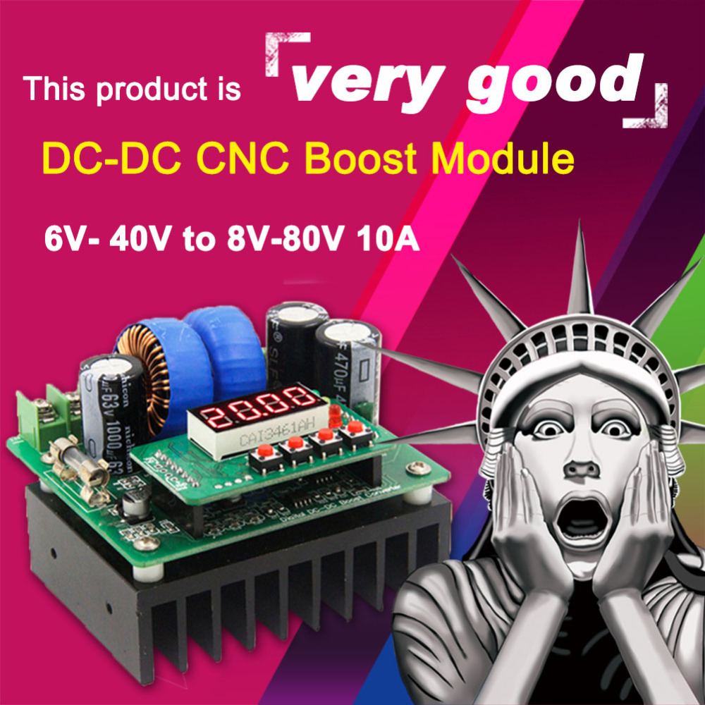 NC DC Regulated Power Supply 6V ~ 40V to 8V ~ 80V Adjustable Boost Module Voltmeter Ammeter 10A Solar Charge Converter diy kit dc dc adjustable step down regulated power supply module belt voltmeter ammeter dual display