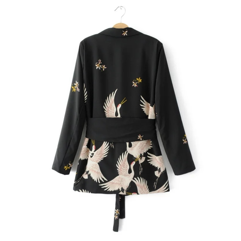 Fashion Women Red Crowned Crane printing Kimono style jacket Casual Long sleeve Coat Vintage Knotted belt Loose Tops C215