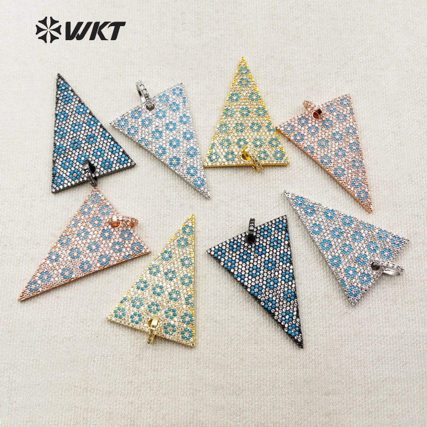 WT-MP003 Wholesale Custom Mirco Pated CZ Triangle Pandants With Gold trim Blue Blossom Pattern Pated Pendant