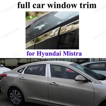 Decoration Strip Car Exterior Accessories For H-yundai Mistra Stainless Steel full Window Trim  with center pillar