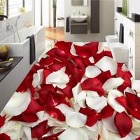 Free Shipping 3D Rose Petal Flooring Waterproof Home Decoration Children Room Living Room Floor Mural Self
