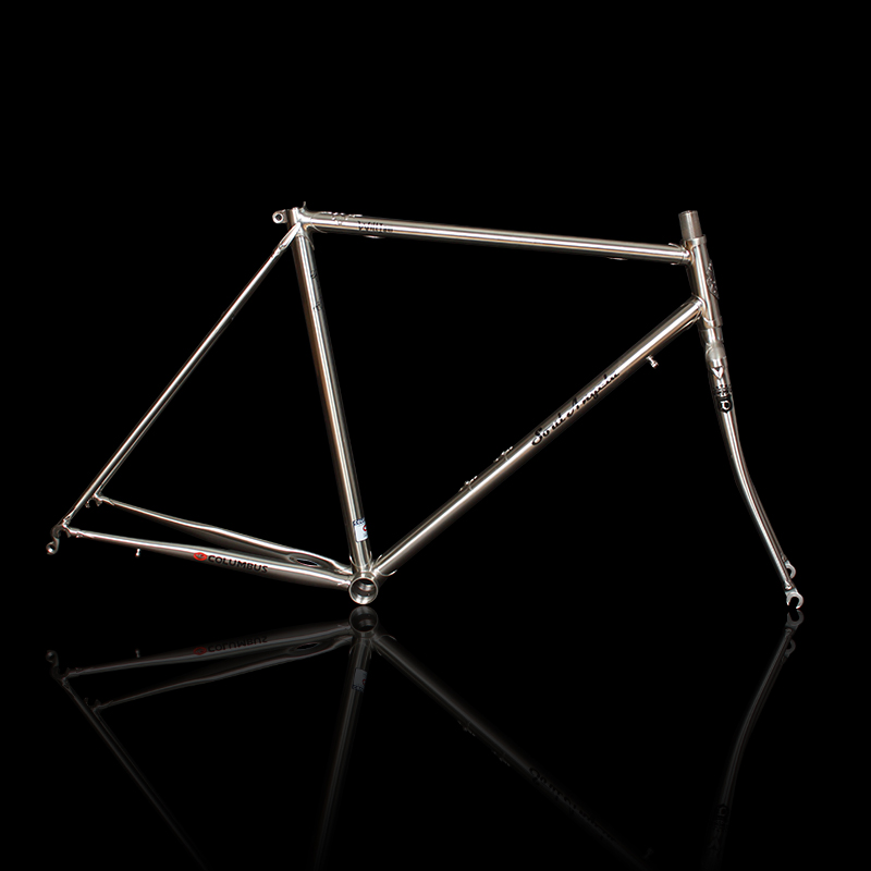 700C Road bike <font><b>frame</b></font> chrome molybdenum <font><b>steel</b></font> Reynolds 525 <font><b>frame</b></font> brushed silver racing bike <font><b>frame</b></font> image