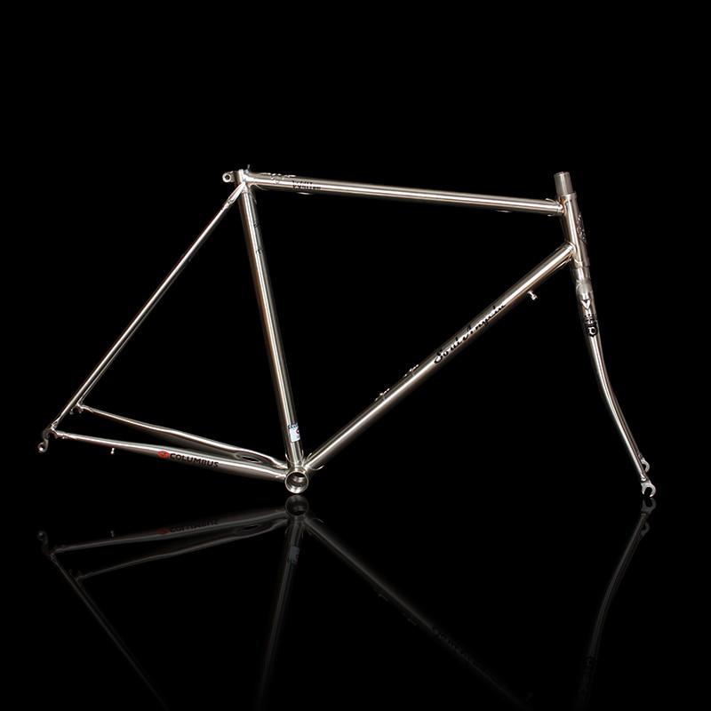 700C Road Bike Frame Chrome Molybdenum Steel Reynolds 525 Frame Brushed Silver Racing Bike Frame