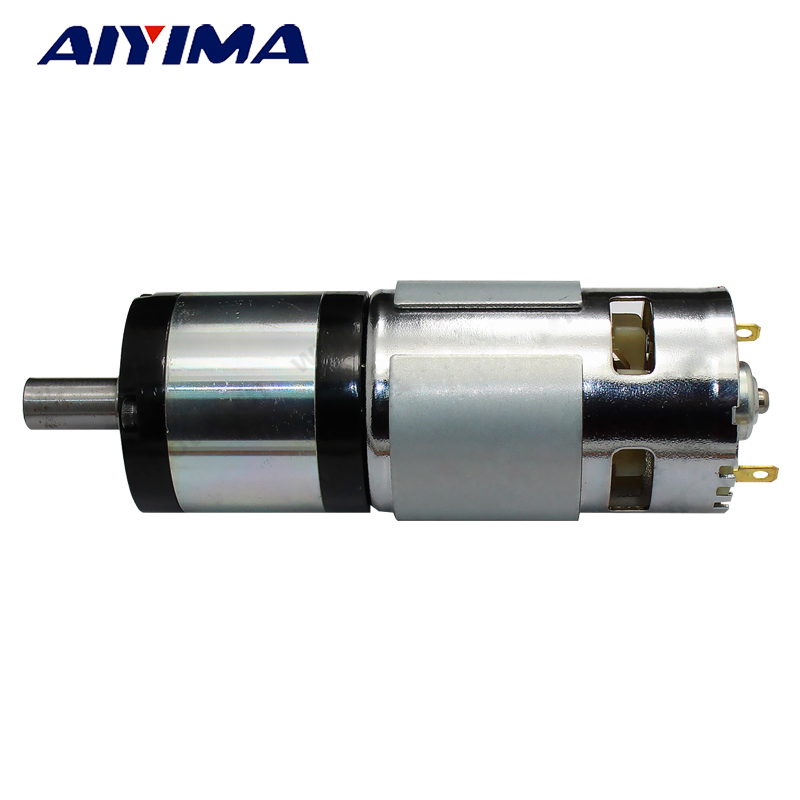 Aiyima All New 775 DC 12V/24V Permanent Magnet DC Planetary Gear Motor Diameter 42mm Reduction Ratio Can Be Customized with gear 40w 50w hand cranked generator dc small generator 12v 24v permanent magnet dc motor dual use