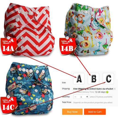[Littles& Bloomz] Детские Моющиеся Многоразовые Тканевые карманные подгузники, выберите A1/B1/C1 из фото, только подгузники/подгузники(без вставки - Цвет: 14