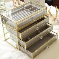 Super Luxury Glass Jewelry Box Makeup 1 4 layer Organizer Storage Box Cajas Organizadoras free shipping
