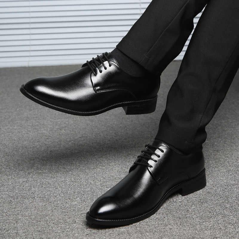 ROXDIA nam Giày cưới phân da công sở mũi nhọn cho người Đầm giày nam oxford đế RXM081 Kích thước 39-48