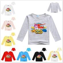 Kids Costume Nova Long-Sleeve Super-Wings Tops T-Shirts boys Girl Baby Cotton Children