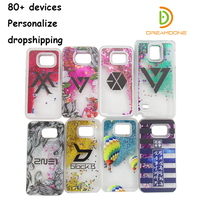 Glitter telefoon case custom voor Samsung galaxy s3/s4/s5/s6 rand plus/s7 edge clear zand glitter mobiele telefoon case personalizde