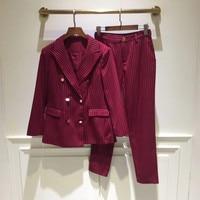2019 весенние шикарные элегантные костюмы OL женские полосатые двубортные блейзеры куртки + девять брюки комплект из двух предметов OL брюки UIT