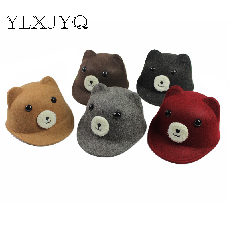 2017 Autumn Winter New Cute Bear Woolen Cap Boys&girls Honney Hat Kids Bonnet Homme Neymar Casual Equestrian Hat Hot Sale An Enriches And Nutrient For The Liver And Kidney
