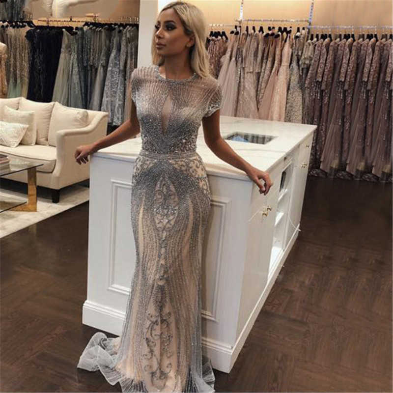 2019 luxo diamante sem mangas nude sereia longo sexy evening pageant vestidos vestido formal robe de soiree dubai design ol103466