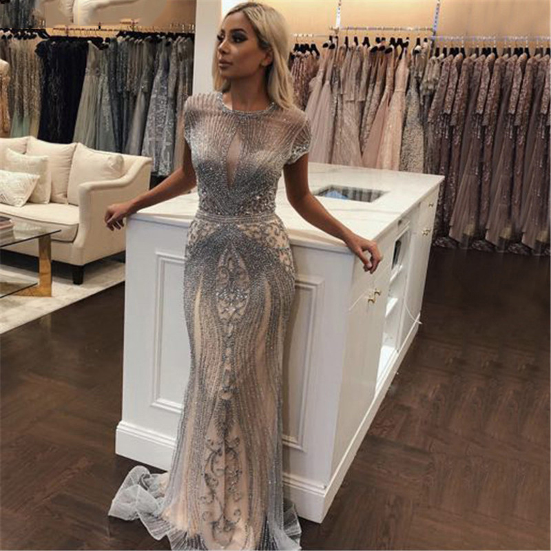 2019 Luxury Diamond Sleeveless Nude Mermaid Long Sexy   Evening   Pageant   Dresses   Formal Gown Robe De Soiree Dubai Design OL103466