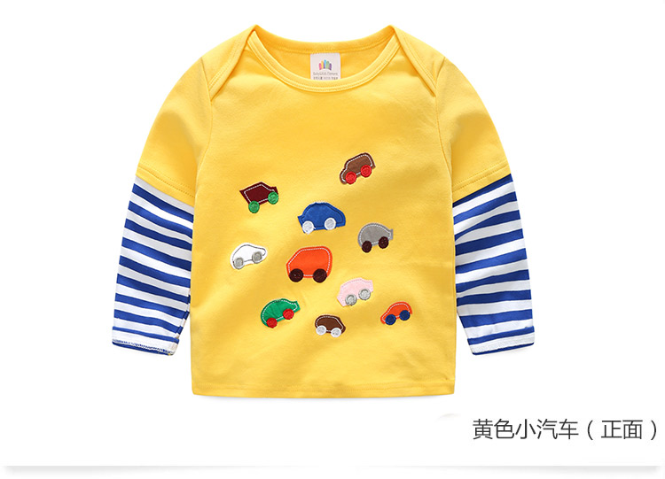 2018 Spring Autumn For 2-9 10 Years Children Cotton Striped Patchwork Cartoon Car Bus Truck Baby Kids Boys Long Sleeve T Shirts (28)