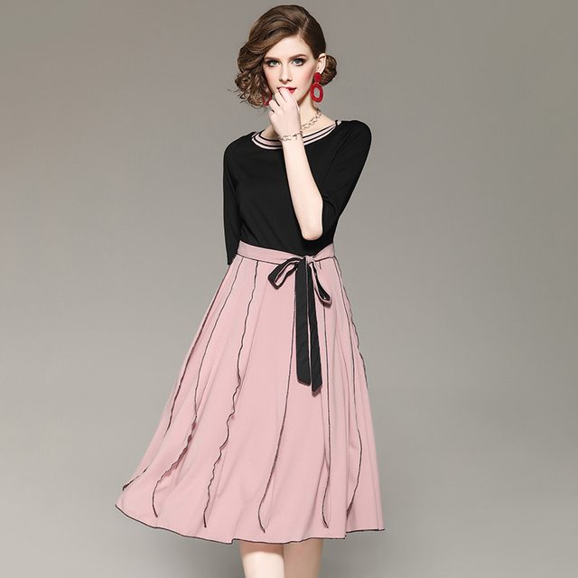 Dress Women Summer Half Sleeves Elegant Mid O-Neck Patchwork Women Natural Waist New Fishion Lace Sashes Dresses 2019