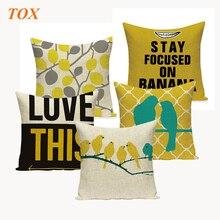 купить Fashion Yellow Color LOVE Bird Cushions Cover Heart Home Decor Pillow Cover Decorative Chair Seat and Waist Square Pillowcase дешево