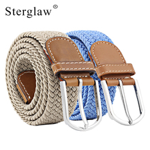 26 color Casual Solid color stretch woven belt Women's unisex Canvas elastic belts for women jeans elastique Modeling belt N082