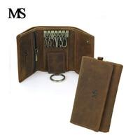 Vintage Multifunction Genuine Crazy Horse Leather Cowhide Men Car Key Wallet Wallets Holder Bag Coin Purse