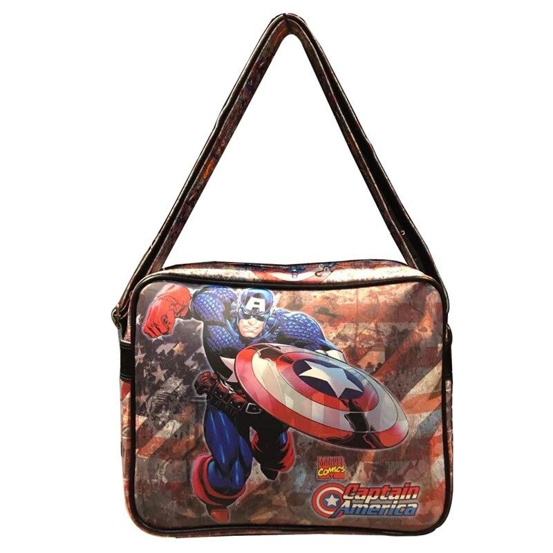 Avengers Captain America Messenger Bags Super Hero Anime Superman Deadpool Bat-man Thor Spider-man Captain Leather Bags Men spider man deadpool vol 4 serious business