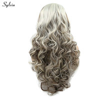 Sylvia Long Glueless Highlight Hair NaturalHairline Brown Mixed Blonde Synthetic Lace Front Wig Bouncy Curly Women Wig for Party