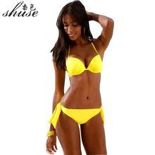 SHUSE 2018 Ny Gul Bikini Set Kvinnor Baddräkt Låg Midja Push Up Halter Top Bandage Biquini Baddräkt Kvinna Brasilian Bating XL