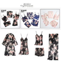 High Quality Women Pyjamas Lace Sexy 5PC Sleepwear Female Summer Satin Pajamas for Women Pijama Kimono Elegant Silk Pajamas